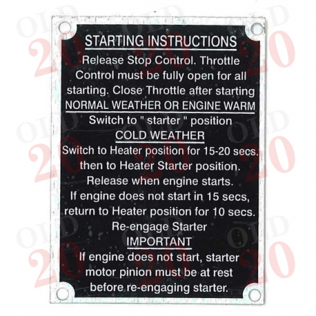 Plate - Starting Instructions