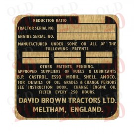 David Brown Selectamatic Serial Number Plate