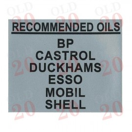 Massey Ferguson 'Recommended Oils' Filter Housing Decal