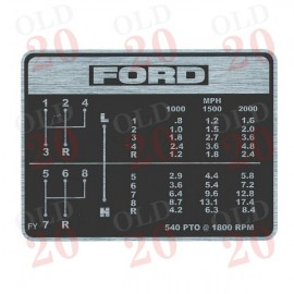 Ford 3000 Gear Change Decal (MPH)