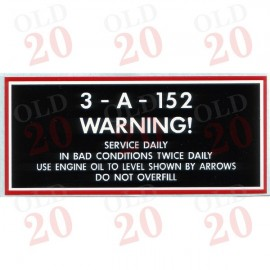 Massey Ferguson 'Service Daily' Air Cleaner Decal