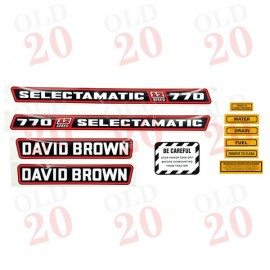 White David Brown 770 Decal Set (Red Stickers)