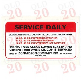 Oliver Tractor Donaldson Air Cleaner Service Decal
