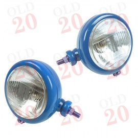 Blue, Side Mounted Tractor Headlamps (Plain)