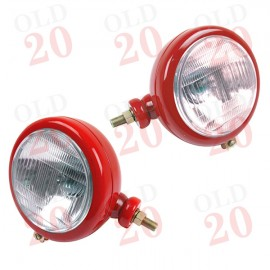 Universal Side Mounted Red Tractor Headlamps (Plain)